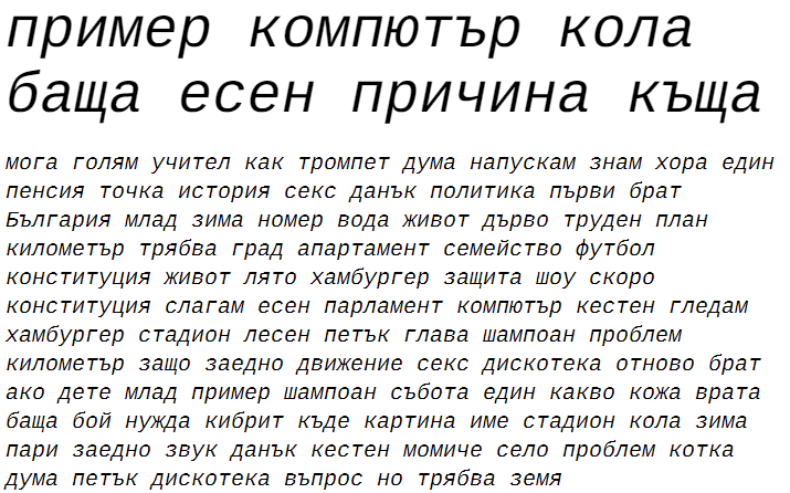 Liberation Mono-Italic Cyrillic Font
